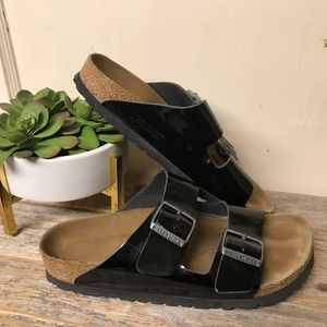 Birkenstock Arizona Patent Leather Sandals 38